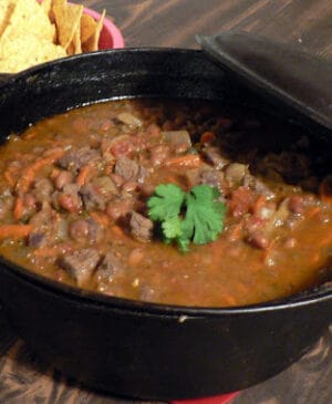 wild game chili in dutch oven