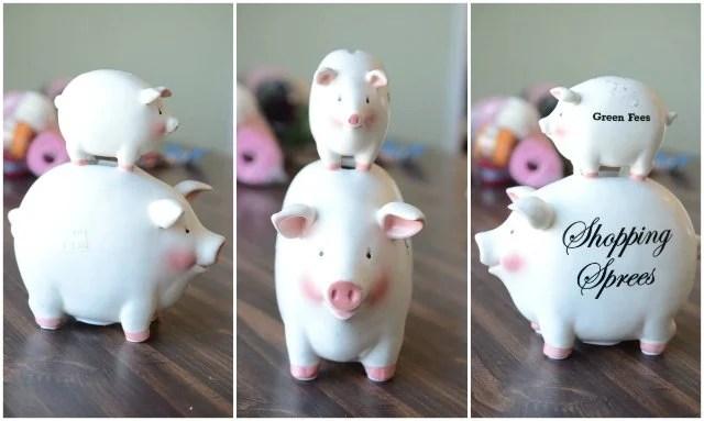 thirft store finds double piggy bank