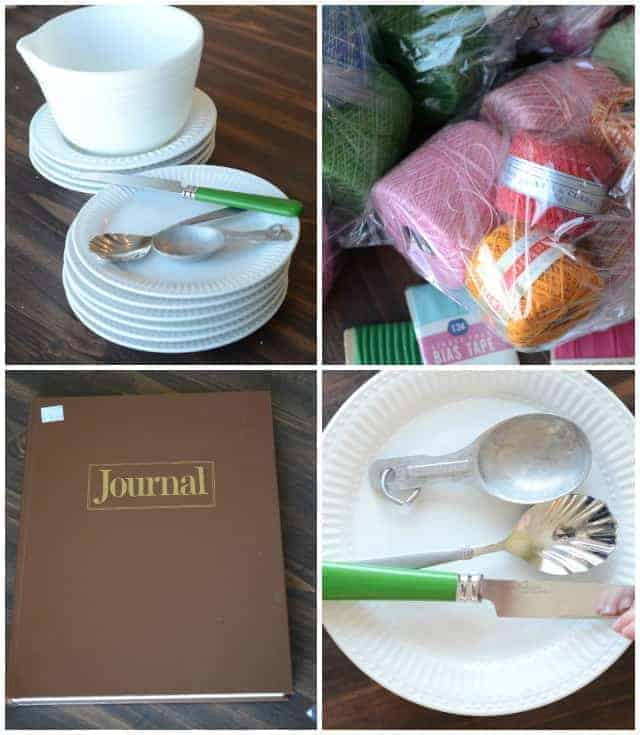 thrift store finds journal, white dishes and more
