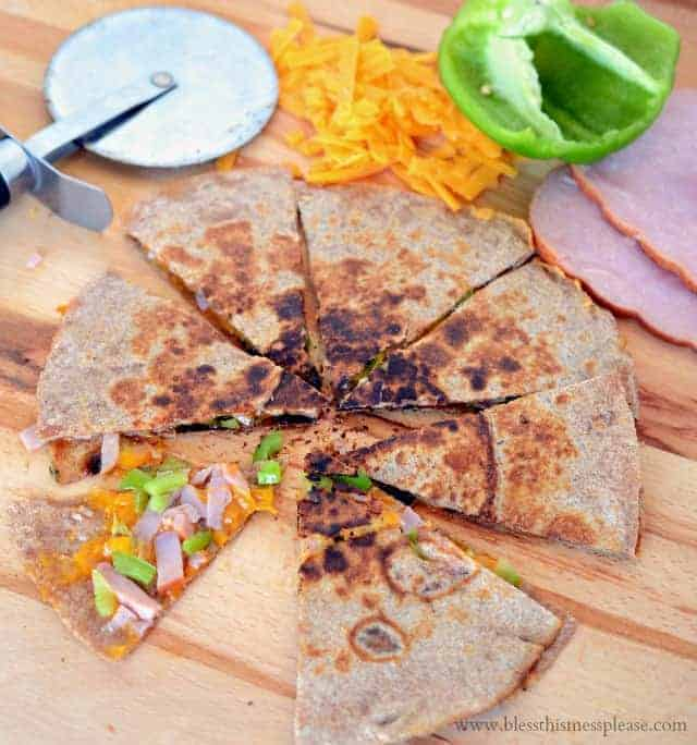 Ham and cheese quesadilla cut into eighths