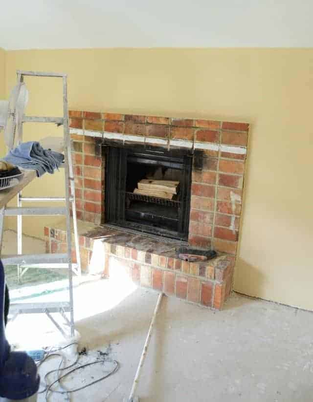 house remodel painting fireplace