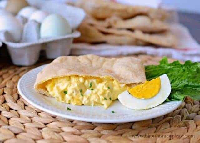 homemade whole wheat pita bread with egg salad