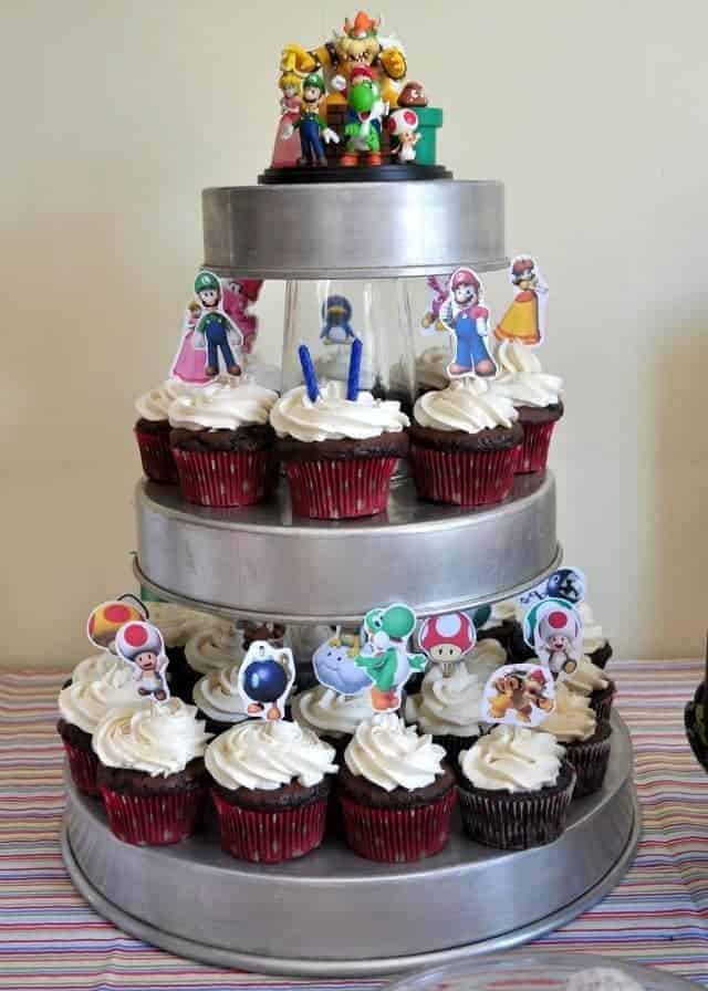 cupcakes with Mario cupcake toppers