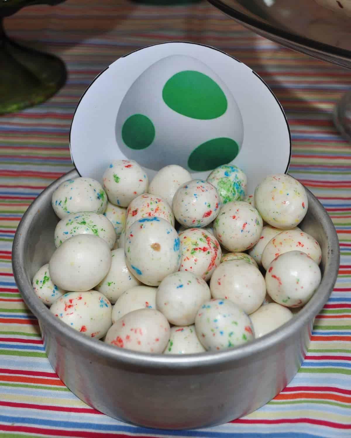 'yoshi eggs' white malted milk balls in a bowl