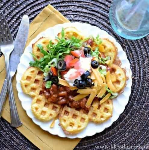 Cornbread Waffles with Chili - 15 Minute Dinner Idea