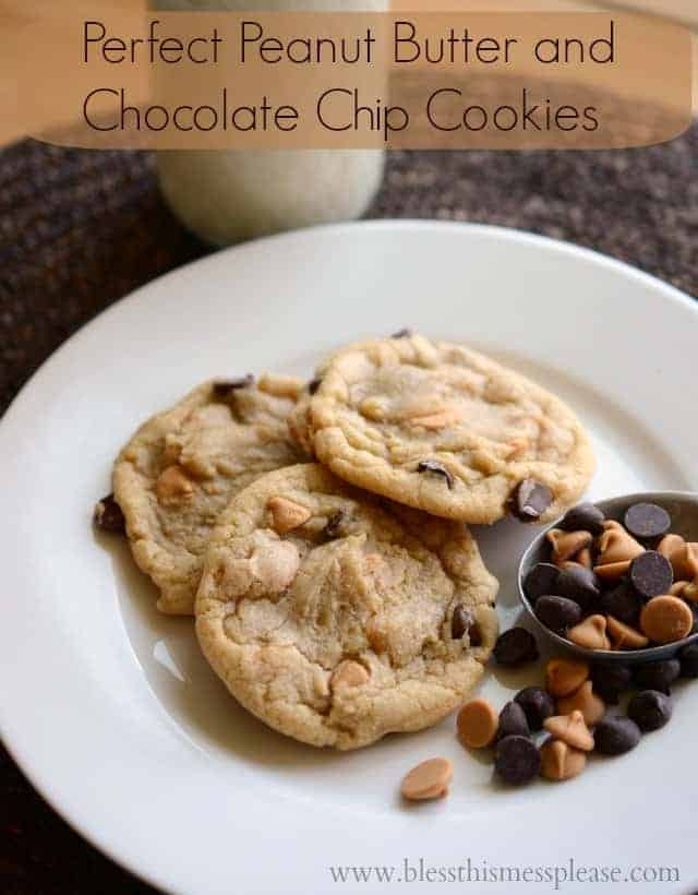 Peanut Butter Chocolate Chip Cookies on a white plate with words
