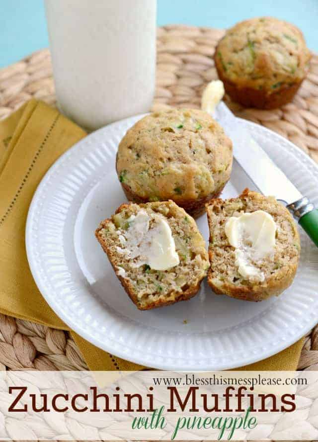 zucchini muffins with pineapple