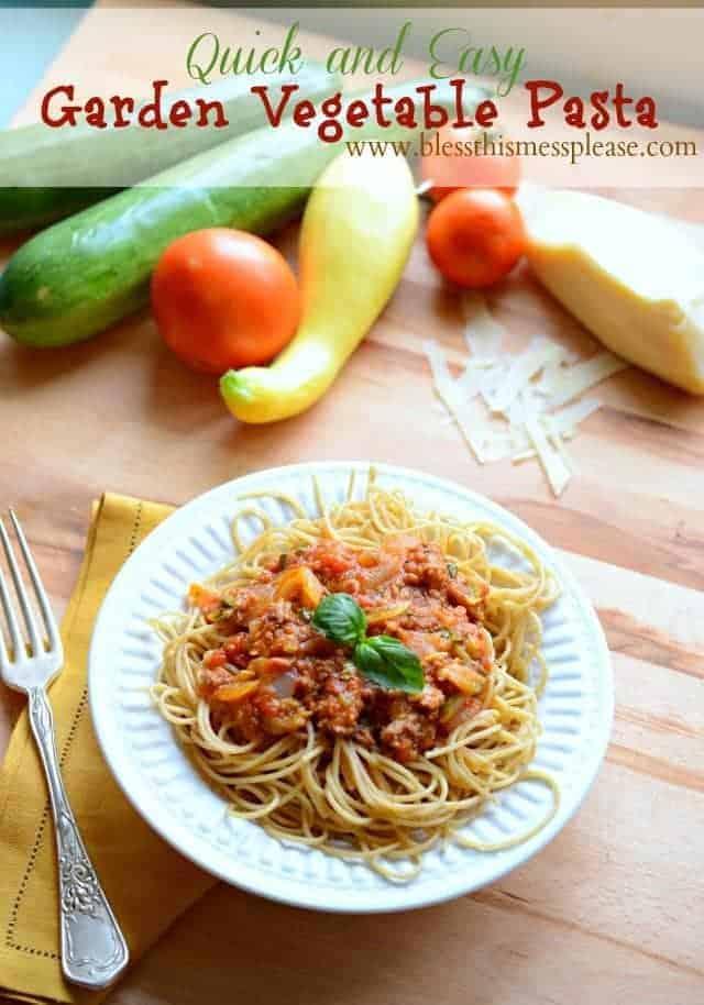 Garden vegetable pasta dish