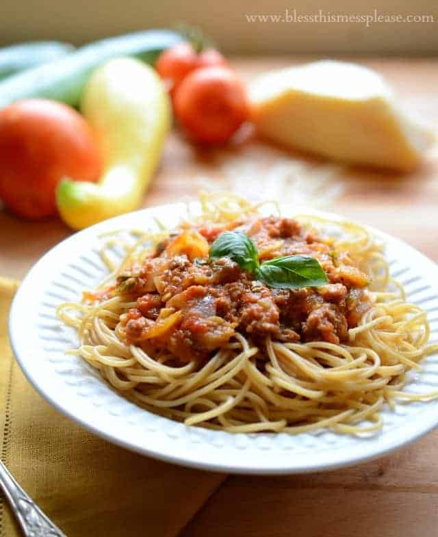 Garden Vegetable Pasta Sauce made with all the vegetables that come from a summer garden, with or without meat, making the perfect easy pasta dinner.