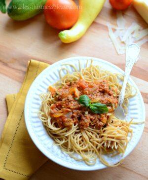 Bowl of vegetable pasta
