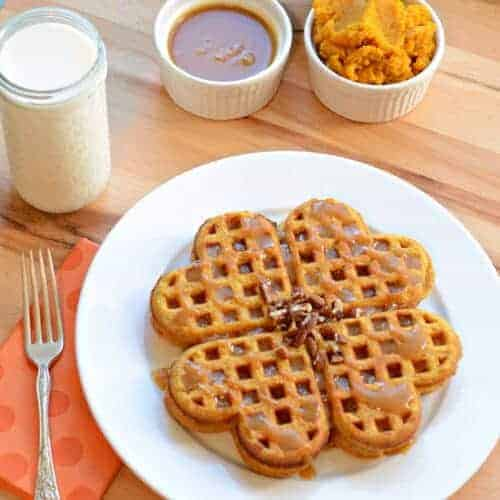 Pumpkin Caramel Spice Waffles with Caramel Maple Syrup