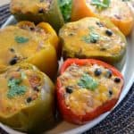 Plate of slow cooker stuffed bell peppers