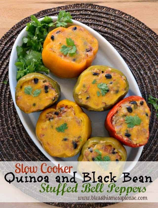 Slow Cooker Stuffed Bell Peppers with Quinoa, Black Beans, and Corn