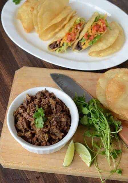 carnita steak for tacos in the crock pot