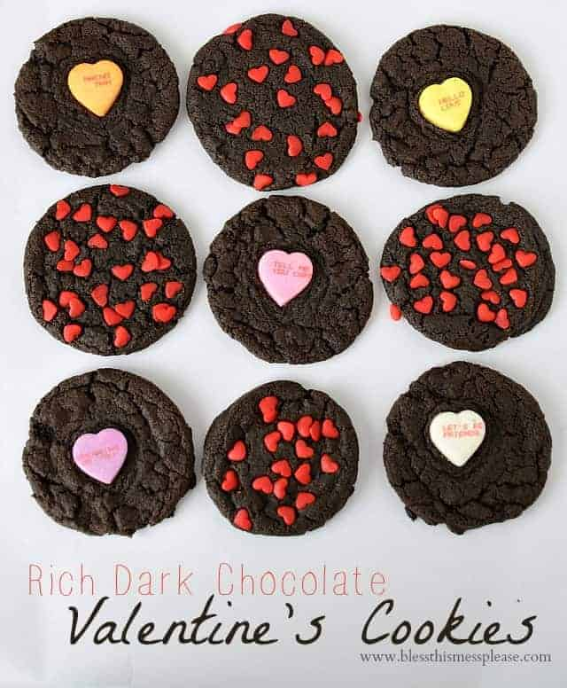 Title Image for Rich Dark Chocolate Valentine's Cookies with 9 dark chocolate cookies topped with tiny red hearts and candy conversation hearts