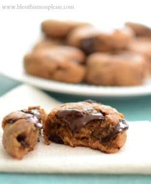Image of a ChickpeaPeanut Butter Chocolate Chip Cookie Split in Half