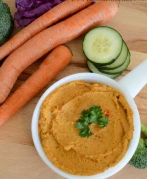 Full of healthy fiber, fat, and some carbs, this roasted red pepper hummus is the perfect dip. Try it with your favorite veggies or pita chips!