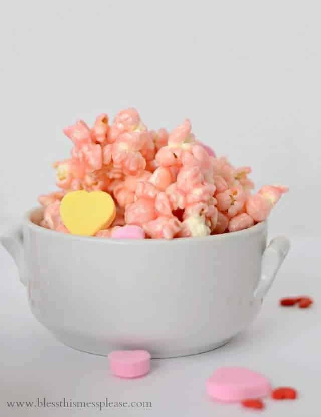 Pretty in Pink Valentine Popcorn Treat from www.blessthismessplease.com