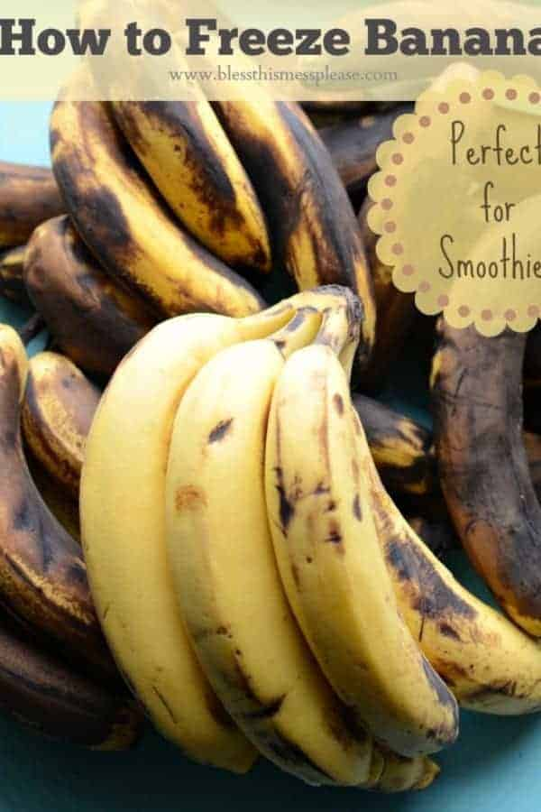 How to Freeze Bananas text with several bunches of overripe bananas