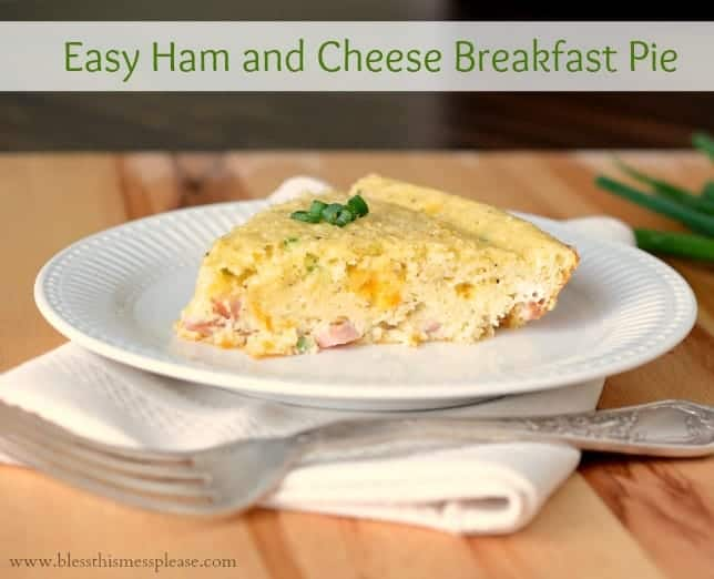 Easy Ham and Cheese Breakfast Pie is a cross between a quiche (very eggy) and a strata (very bready). You can't go wrong with eggs, ham, and cheese all piled into one dish. Plus it's super easy.