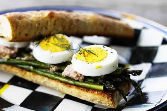 Roasted Asparagus, Tuna and Hardboiled Egg Sandwiches