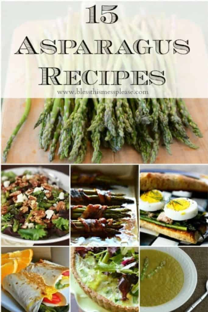 Title Image for 15 Asparagus Recipes with fresh asparagus and examples of 6 asparagus recipes