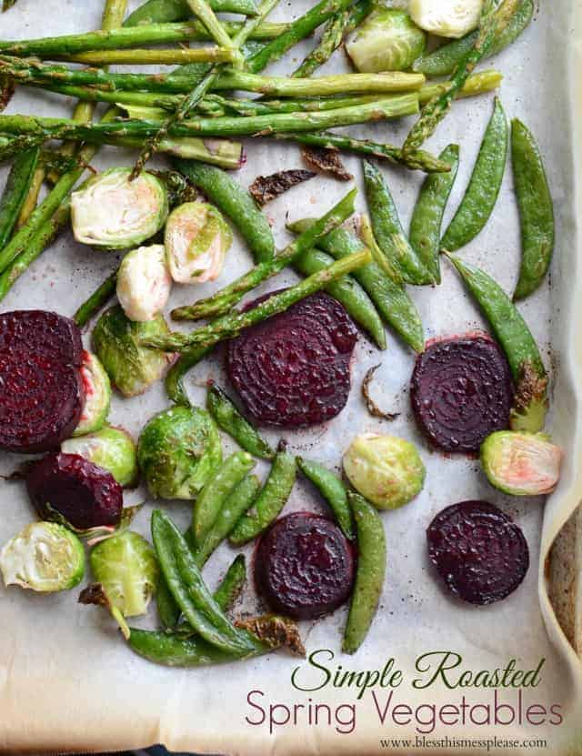 roasted veggies on parchment paper