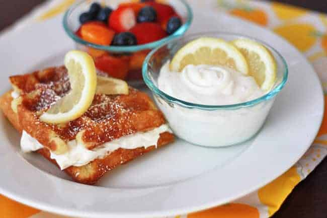 Lemon Buttermilk Waffles with Whipped Lemon Cream Cheese Topping