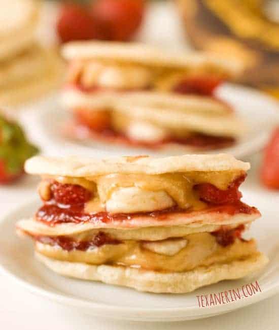 Peanut Butter, Strawberry and Banana Quesadillas
