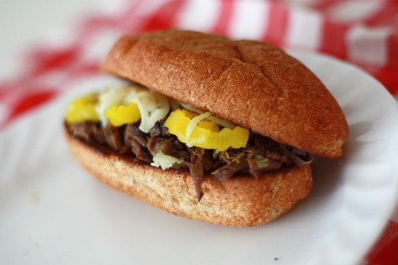 Image of a Pepperoncini & Beef Sandwich on a Plate