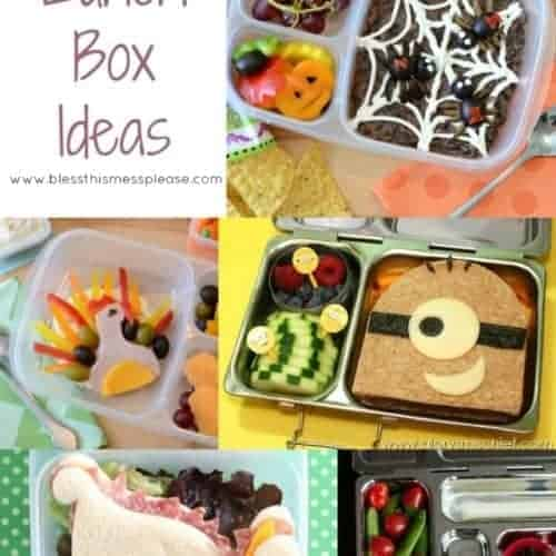 Title Image for Lunch Box Ideas with 5 examples of healthy lunches with food that resembles characters and animals