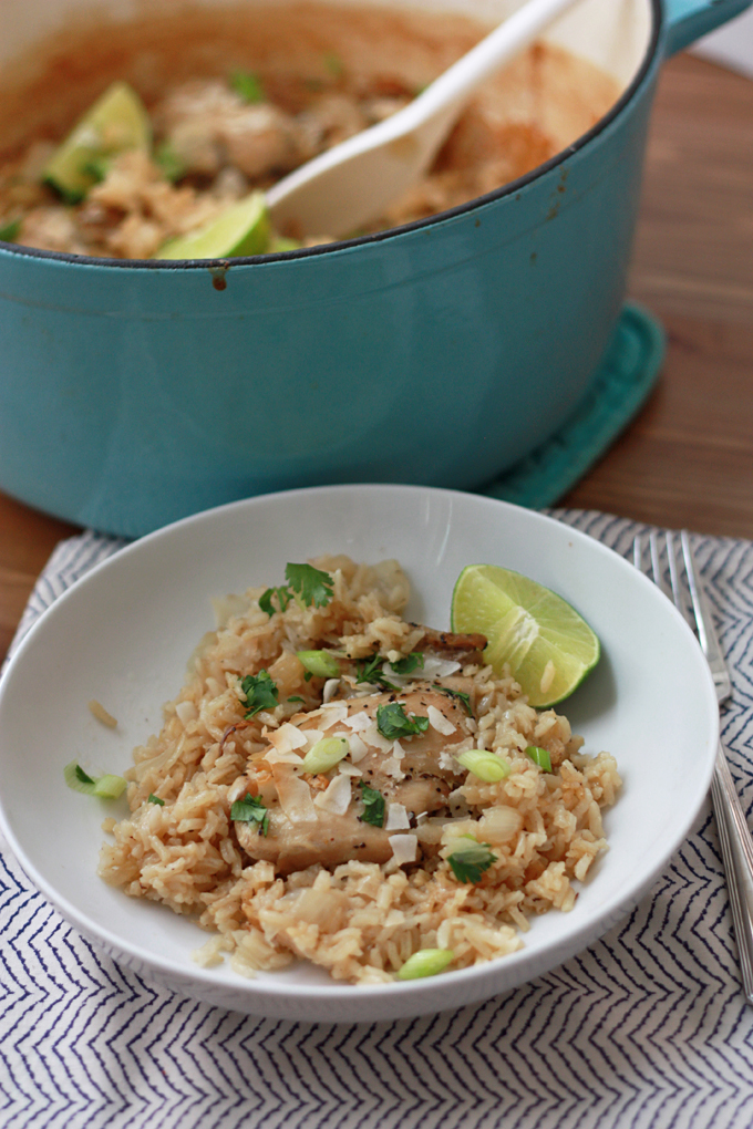 One Pot Coconut Chicken and Rice quick easy and full of flavor!