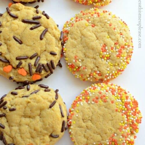 Soft Pumpkin Cookies with Sprinkles