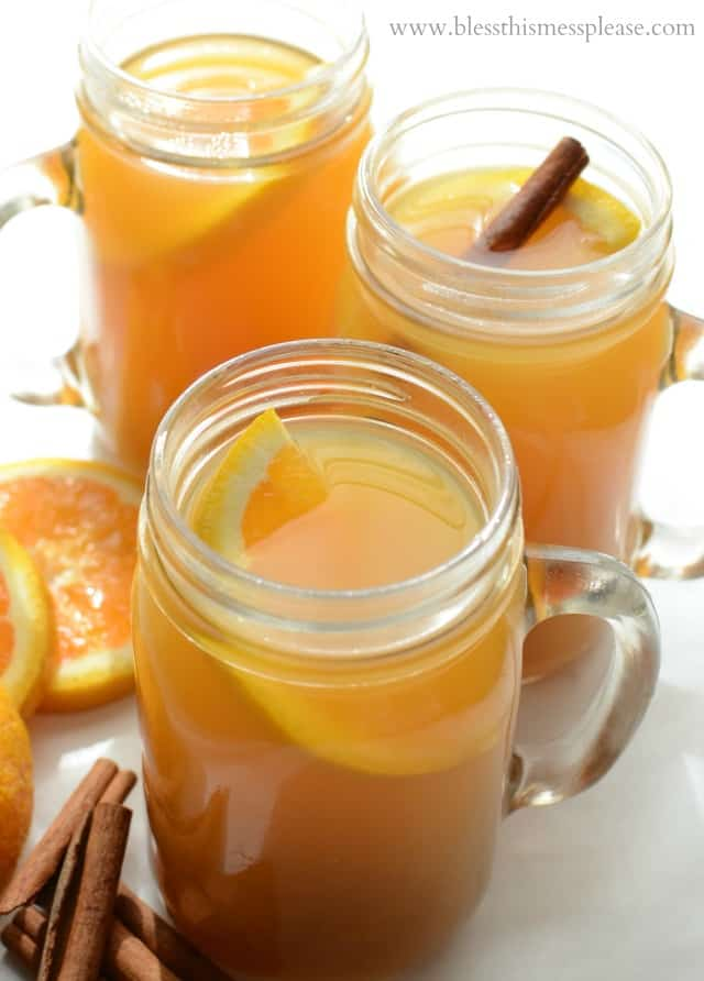 Vanilla Cider Wassail is a fun addition to any party because it's warm, sweet, easy to make, and really pretty. It easily scales up, too!
