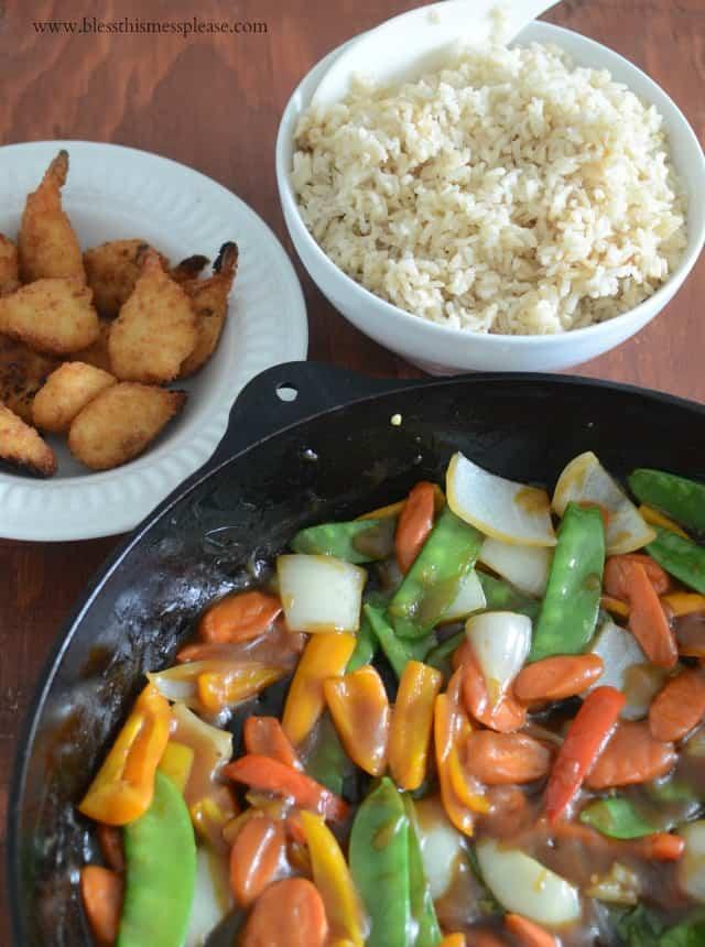 30 Minute Stir Fry with Crispy Shrimp plus this Week's Meal Plan