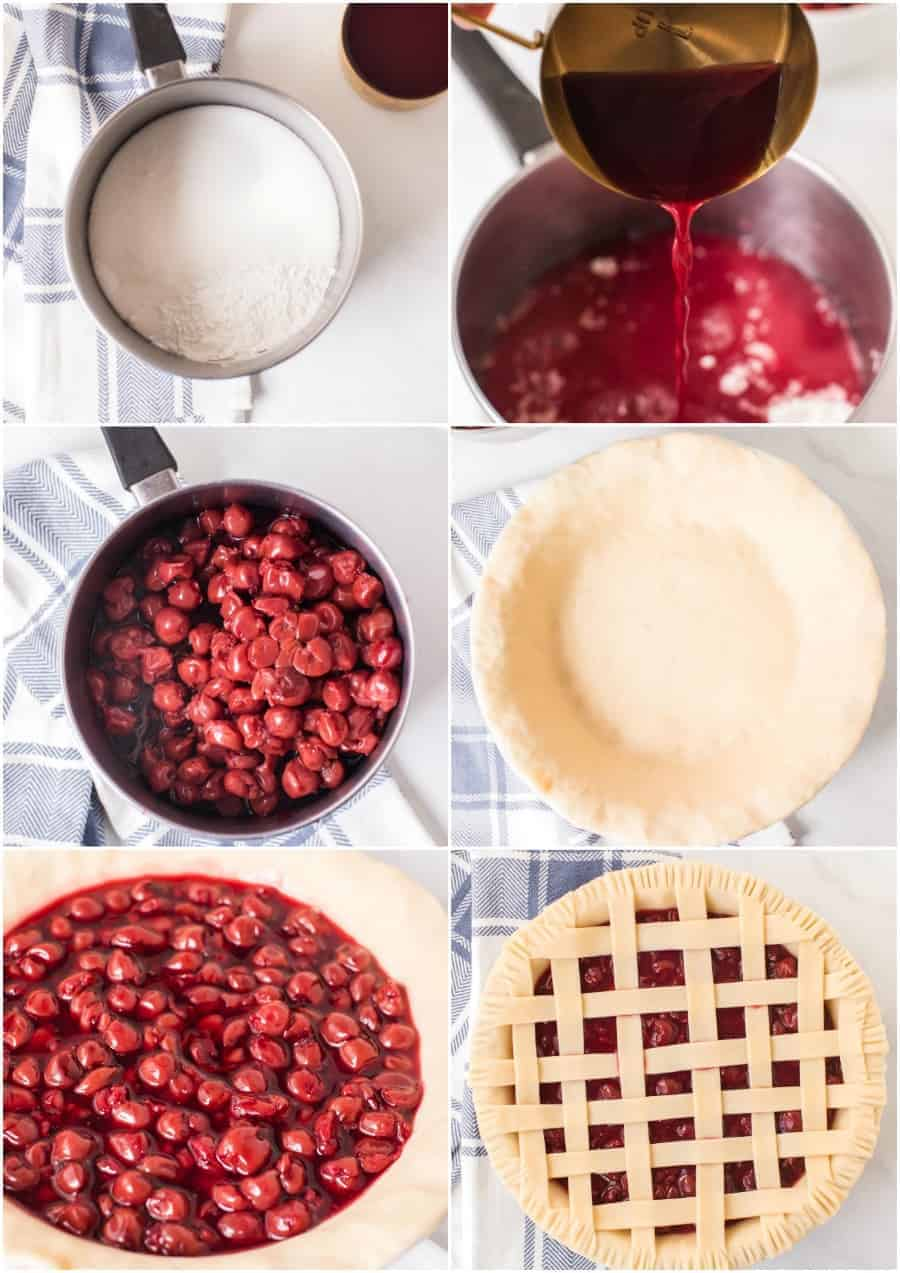step by step how to make cherry pie collage image