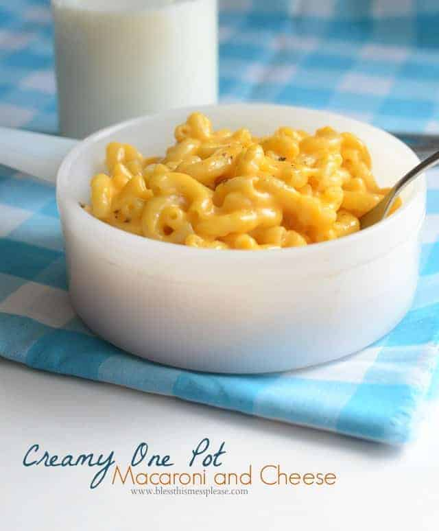 This One Pot Macaroni and Cheese is extra easy because you cook the macaroni right in the milk that helps to make the sauce. Ready in 15 minutes!