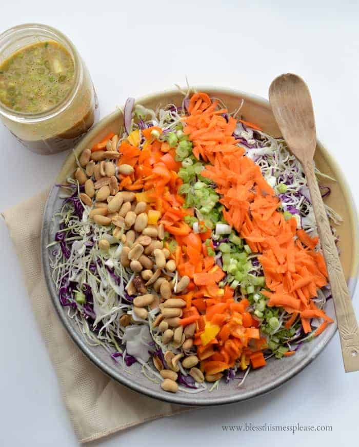 The only kitchen skills you need for this Chopped Asian Peanut Salad are chopping ingredients and shaking salad dressing!