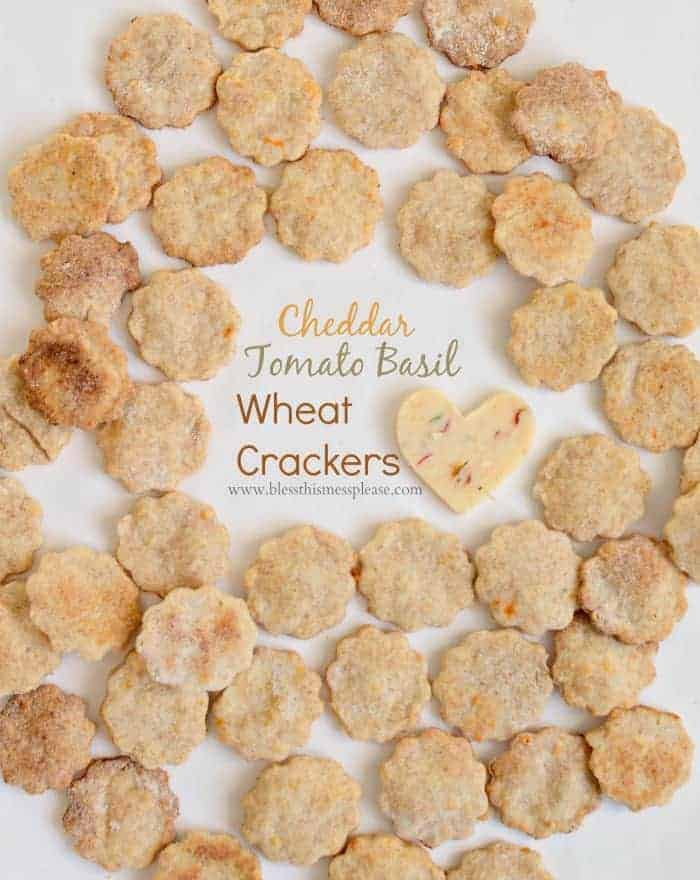 Tomato Basil Cheese Crackers made with whole wheat flour, cheddar cheese and spices.