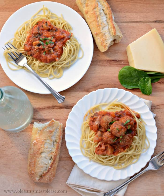 Spinach and Mushroom Marinara with (or without) Meatballs