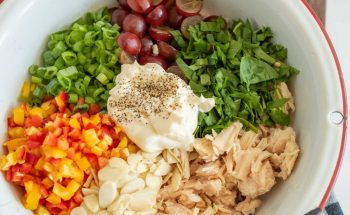 top view of ingredients for chicken salad in a bowl