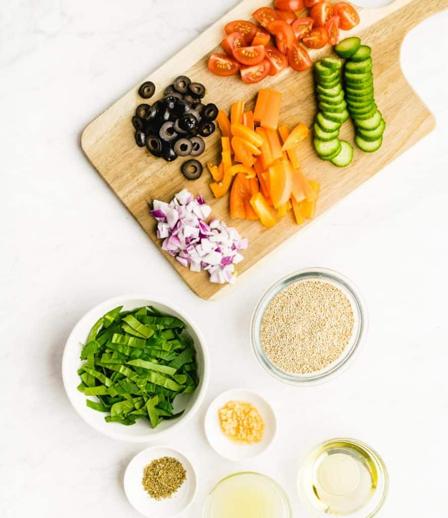 top view of ingredients for quinoa salad