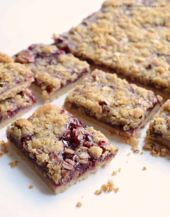 America's Test Kitchen's Raspberry Streusel Bars on a white background