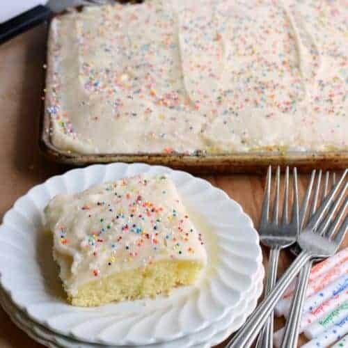 Quick and Easy Vanilla Sheet Cake
