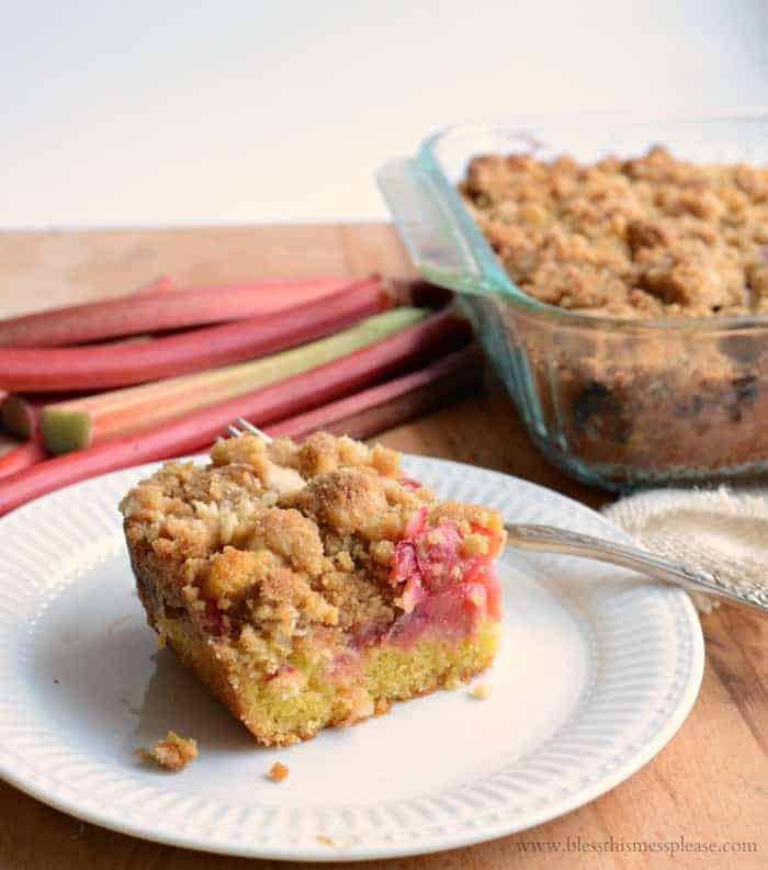 Rhubarb Crumb Bar on a white plate showing its 3 layers