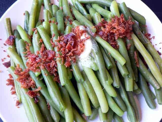 Image of Fresh Green Beans with Butter and Bacon