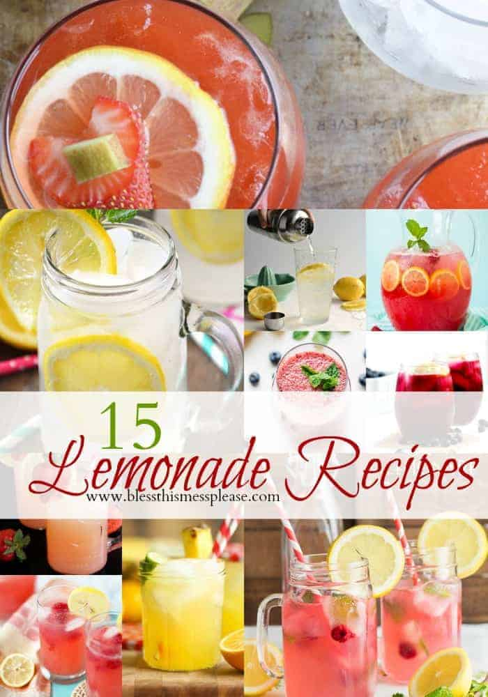 15 Luscious Lemonade Recipes (all non-alcoholic) title page with images of several different types of lemonade