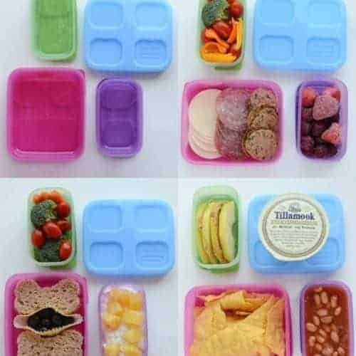 Images of four nutritious packed lunches in containers