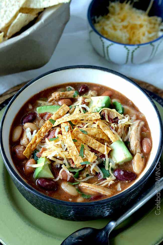Sweet and Smoky BBQ Chicken Chili from Carlsbad Cravings