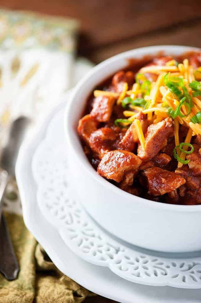 Smoky Pork Slow Cooker Chili from Buns In My Oven